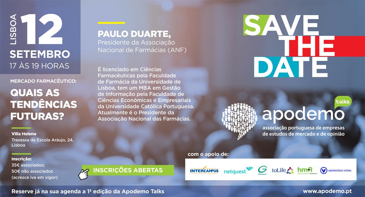 Save the Date, Apodemo Talks, 12 de Setembro às 17 horas