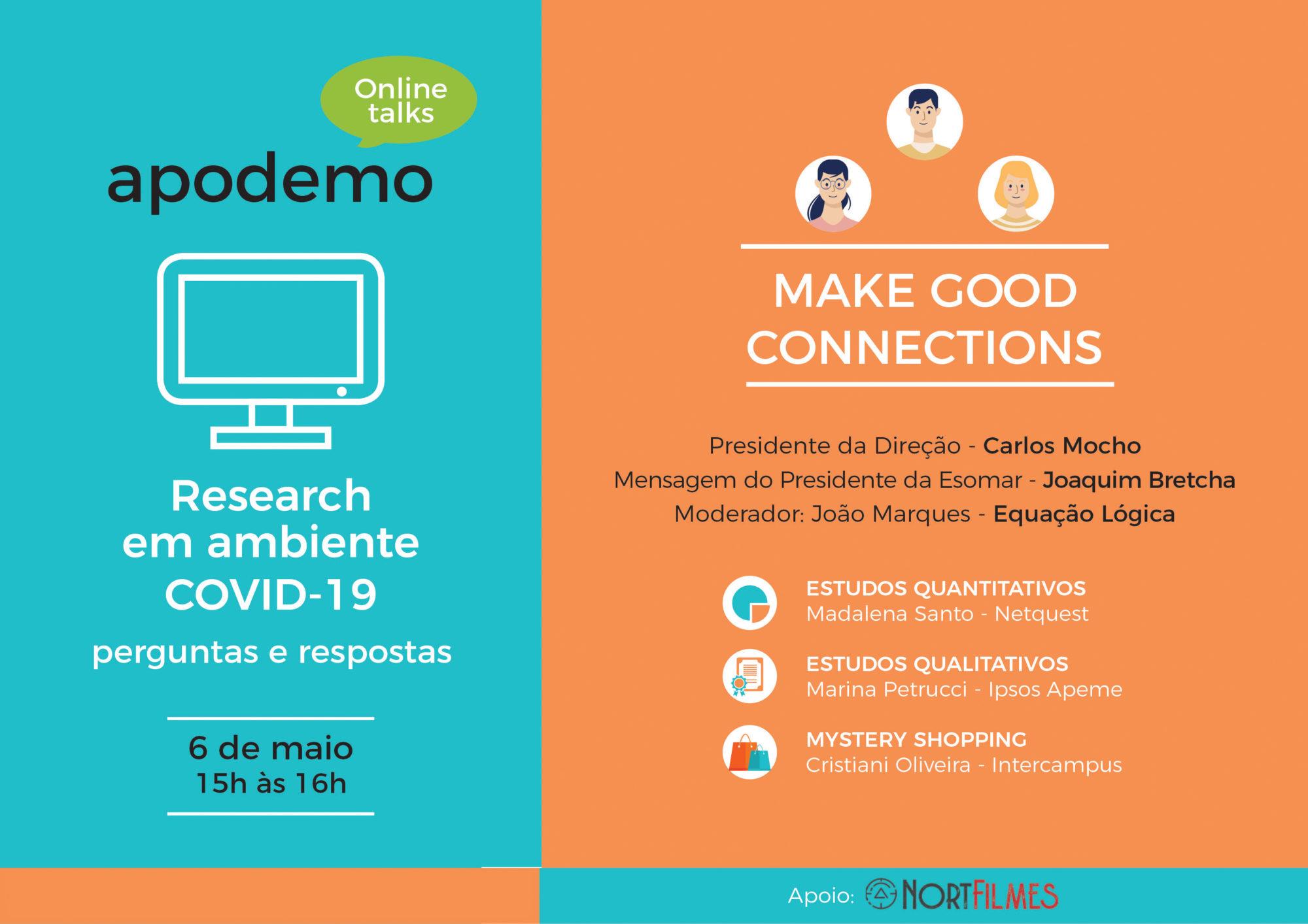 Apodemo online talks dia 6 de maio, às 15horas
